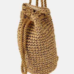 ZARA NWT natural woven tan backpack!